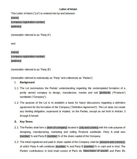 business letter of intent template business letter of intent 9 free word pdf format
