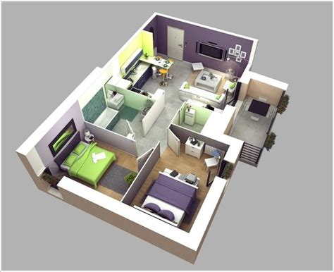 home design 3d 3 bhk 10 awesome two bedroom apartment 3d floor plans