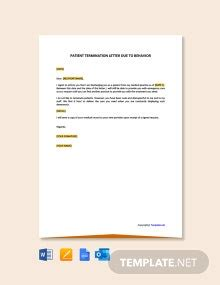 daycare termination letter behavior template