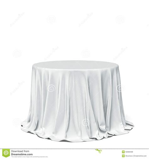 round table with white tablecloth big white round table and cloth stock photo image 50580499