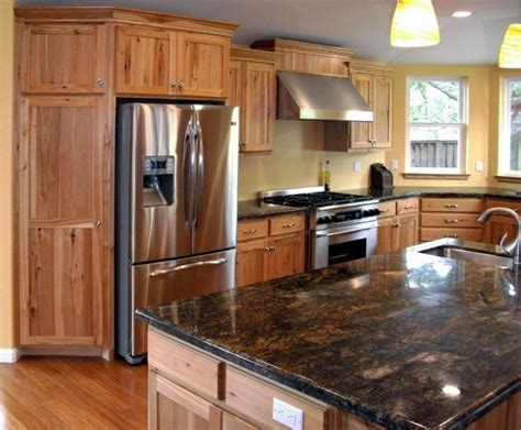 rustic hickory cabinets black laminate countertops ge 65 best images about hickory cabinets and on pinterest