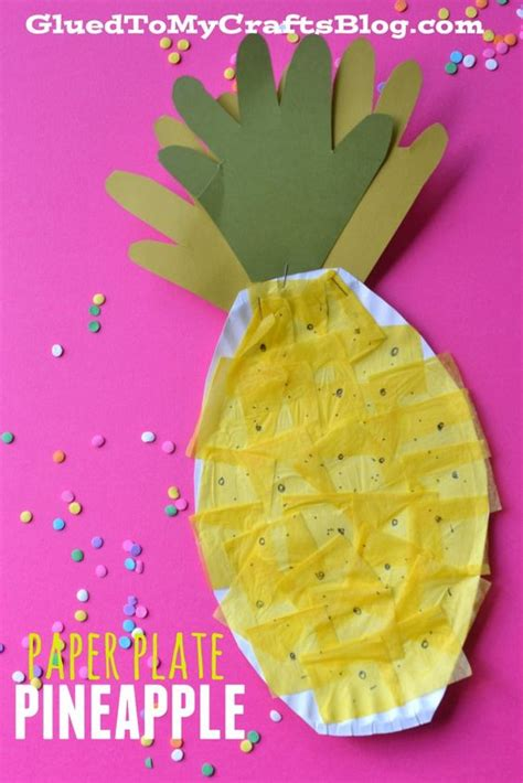 Paper Plate Crafts For Summer - paper plate pineapple kid craft summer crafts for