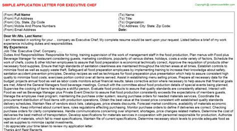 application letter for executive chef position executive chef title docs