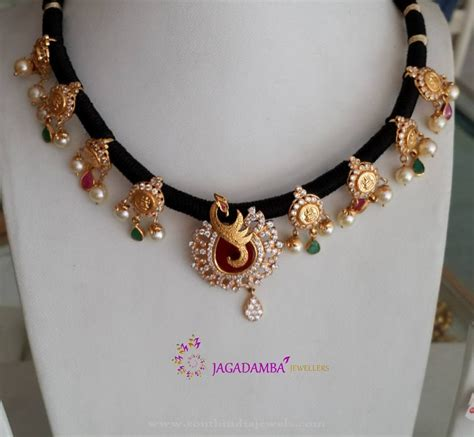 black necklace designs india gold black threaded necklace designs south india jewels