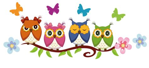 Mae Wall Stickers colourful owls on a branch wall stickers totally movable