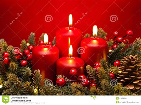 advent red candle flower arrangement stock photo image