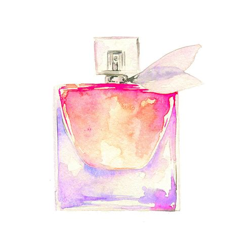 Parfum Chanel Pink pink perfume watercolor fashion illustration painting by