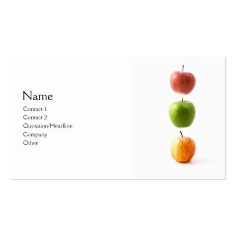apple business card template 3 apples business card templates zazzle