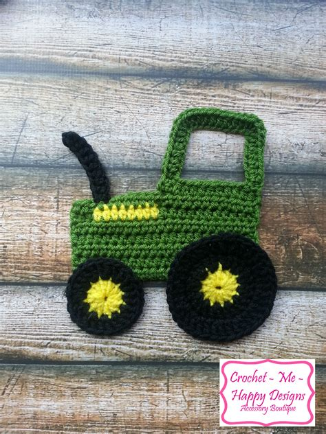 Motif Jd crochet deere tractior applique crochet applique