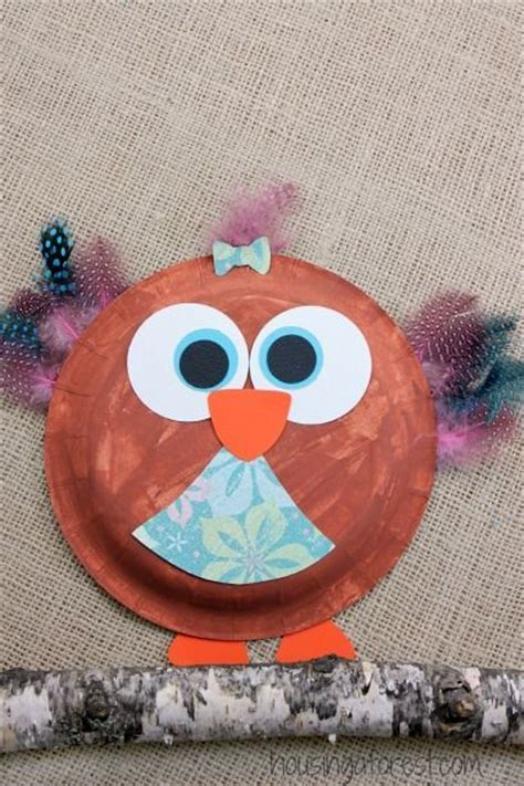 Owl Paper Plate Craft - paper plate owl easy craft arts crafts