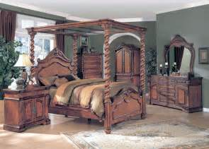 King Canopy Bedroom Furniture Sets King Poster Canopy Bed Oak 6 Bedroom Set W Chest Ebay