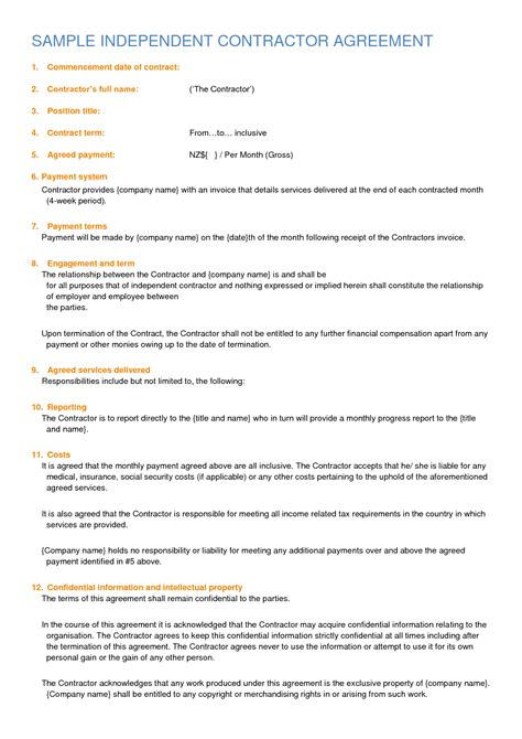 Independent Contractor Agreement Sle By Sburnet2 Independent Contractor Contract Sle Cdl Driver Contract Template