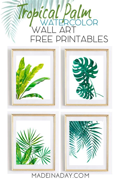 printable free art tropical palm watercolor wall art printables made in a day