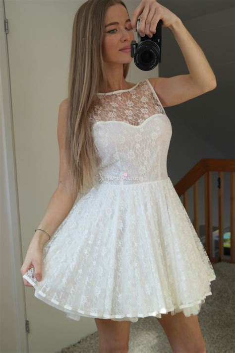 simple dress pretty short white lace short  homecoming