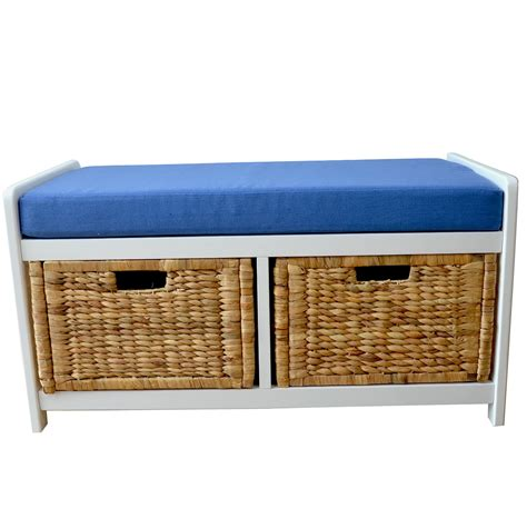 Storage Bench With Baskets Storage Bench With Baskets And Cushion Home Design Ideas
