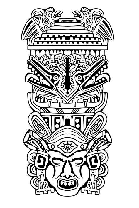 imagenes de totems aztecas mayas azt 232 ques et incas coloriages difficiles pour
