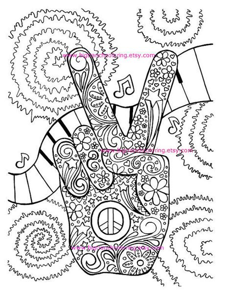 printable hippie stencils adult coloring page hippie retro peace colouring