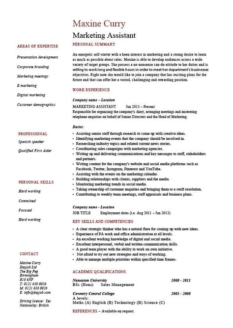 personal skills cv sles marketing assistant description sles