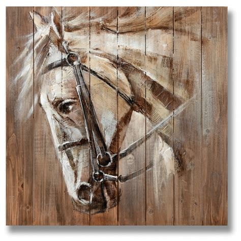 war horse  wood wall art painting homesdirect