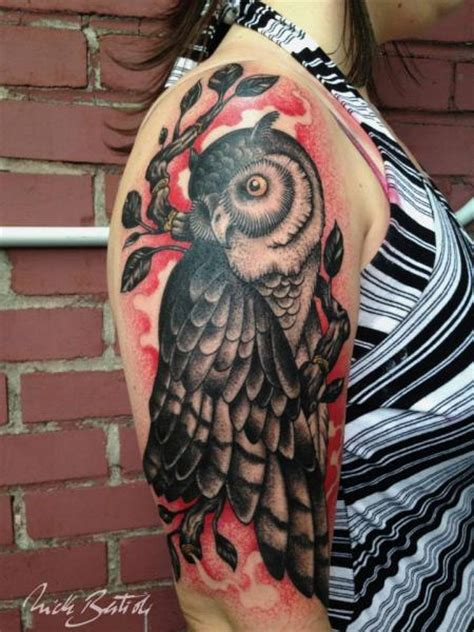 owl tattoo underarm arm old school owl tattoo by nick bertioli