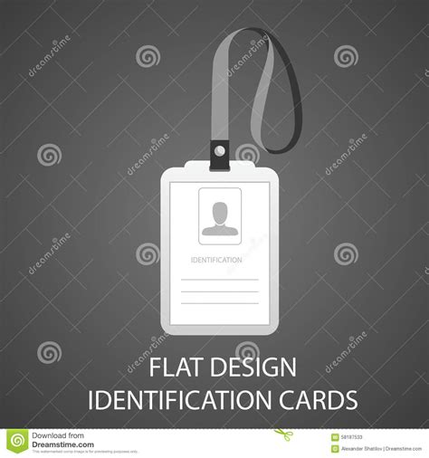 id card flat design identification card with a photo pass in the flat style