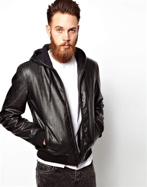 asos faux leather racing biker jacket in black for