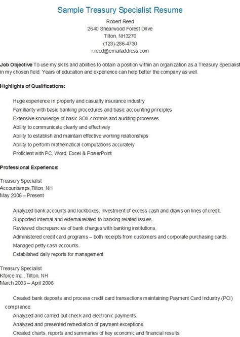 Treasury Specialist Sle Resume by 17 Best Images About Resame On Skin Care Specialist Supply Management And