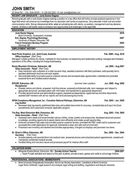 Best Resume Sles For Graduate Students Recent Graduate Resume Template Premium Resume Sles Exle