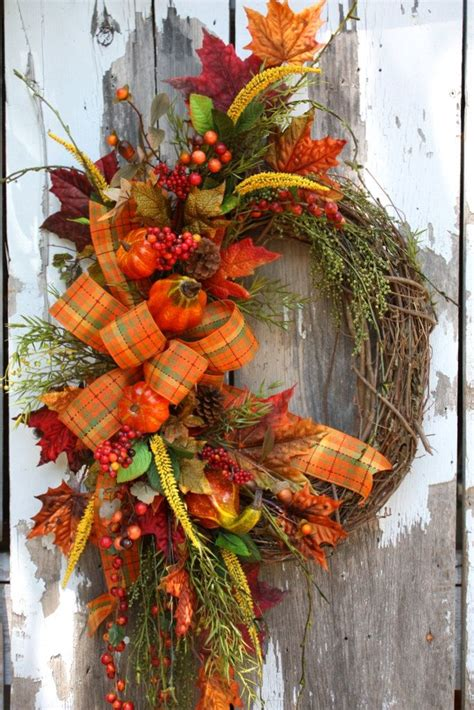 fall wreaths fall wreath oval plaid ribbon pumpkins and gourds