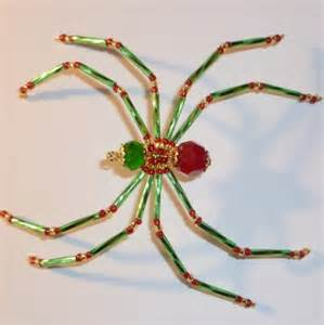 green and red beaded christmas spider ornament