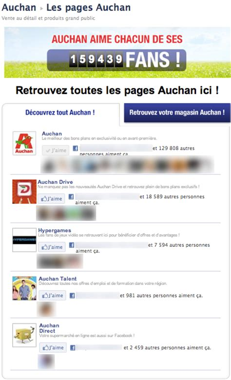 si鑒e social auchan 5 exemples de pages r 233 ussies emarketinglicious