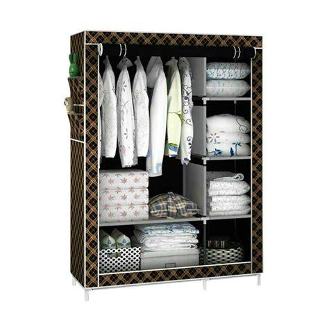 Lemari Kamar Mandi Rak Organizer 47x125x185 Cm jual rack cloth with cover lemari pakaian portable coklat harga kualitas terjamin