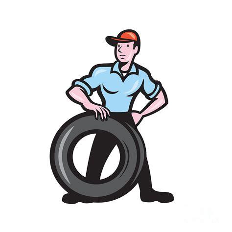 tireman mechanic  tire cartoon isolated digital art  aloysius patrimonio