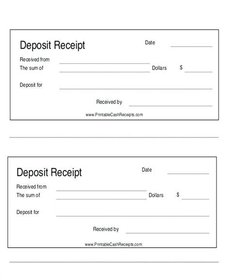 Deposit Receipt Template Excel by Payment Receipt Template Likepet Me