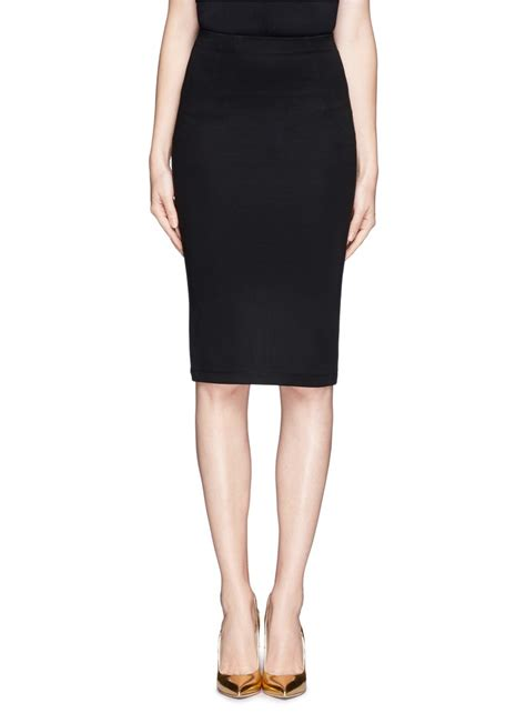 leather trim pencil skirt in black lyst