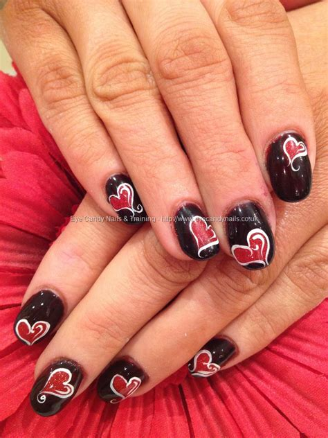 valentines acrylic nail designs acrylic nails with and black gel