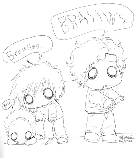 cute zombie coloring pages chibi zombie family by threshie on deviantart