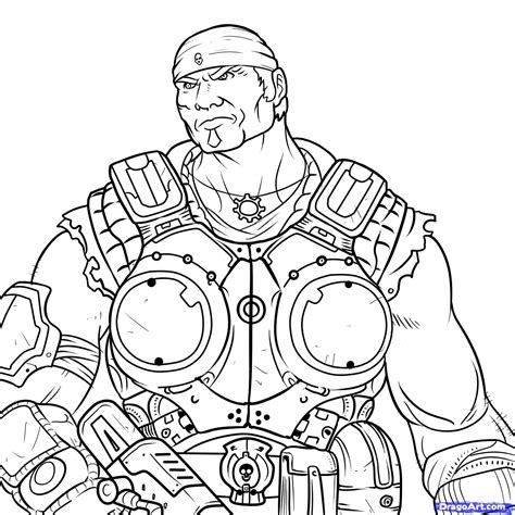 marcus gears of war free coloring pages