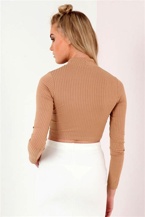 Ribbed Top sleeve turtle neck ribbed crop top from premier glam