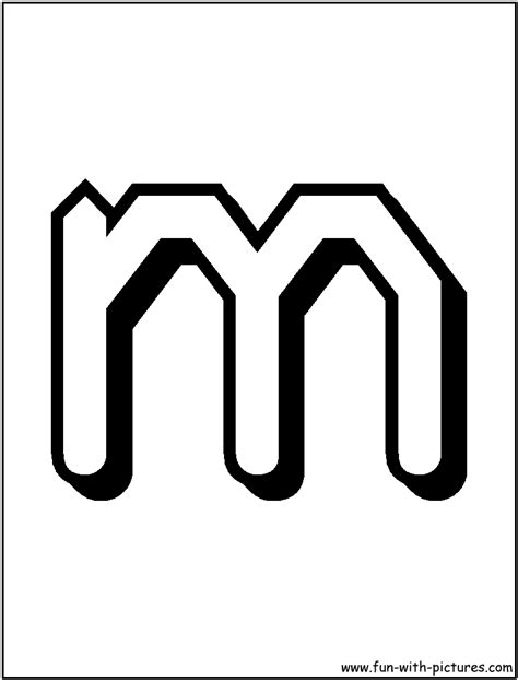 Free coloring pages of letter m lower case