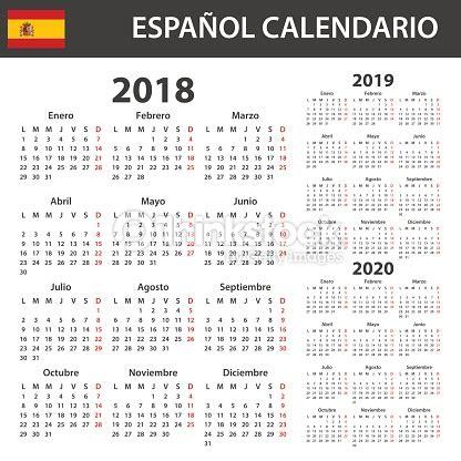 Calendario 2018 Español Calendario Espa 241 Ol Para 2018 2019 Y 2020 Plantilla De