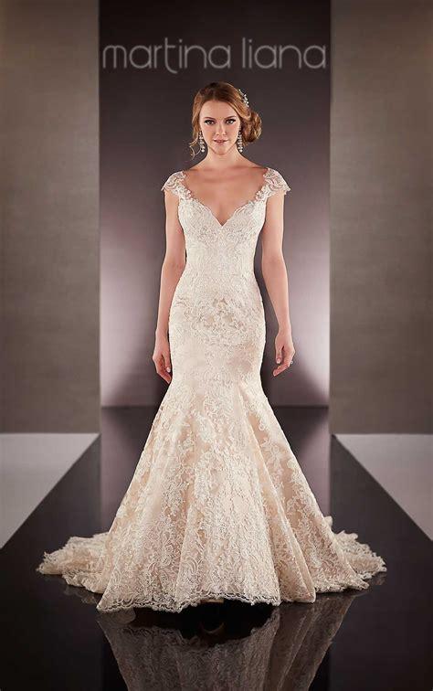 cap sleeve fit  flare wedding dress martina liana