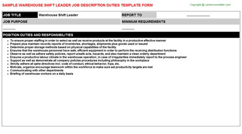 warehouse shift leader description