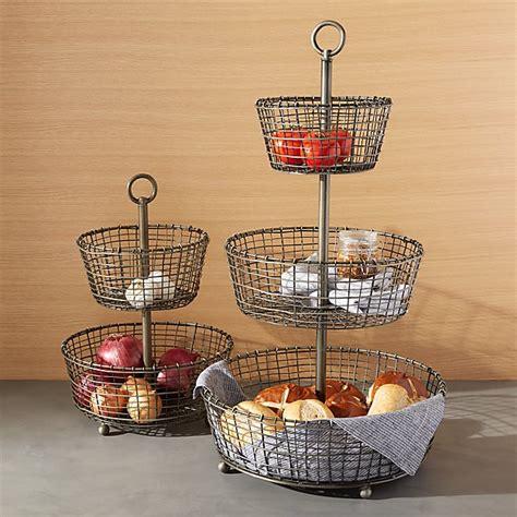bendt tiered iron fruit baskets crate  barrel