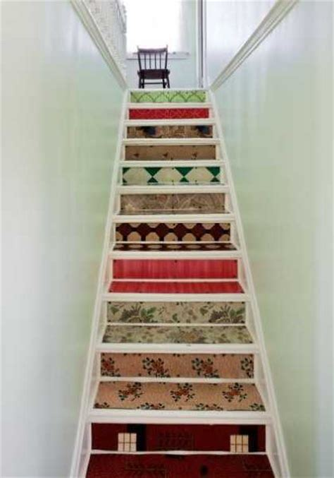 stairs decorations adding beautiful wallpapers to stairs risers for original