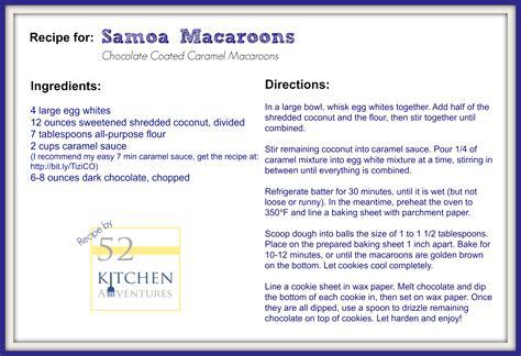 printable macaron recipes samoa macaroons