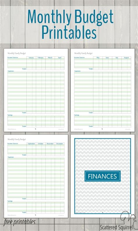 monthly family budget printables organizations