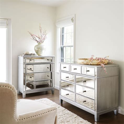 Hayworth Mirrored Silver Chest Dresser Bedroom Set Mirrored Bedroom Dresser