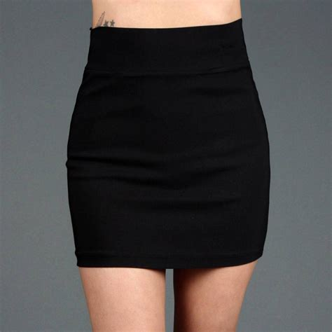 stretch fitted pencil high waisted mini skirt 45254