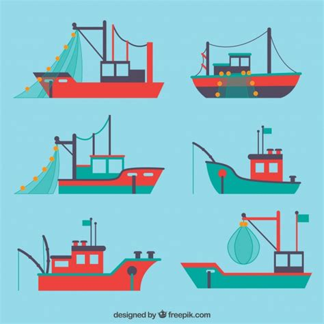 fishing boat vector flat selection with variety of fishing boats vector free